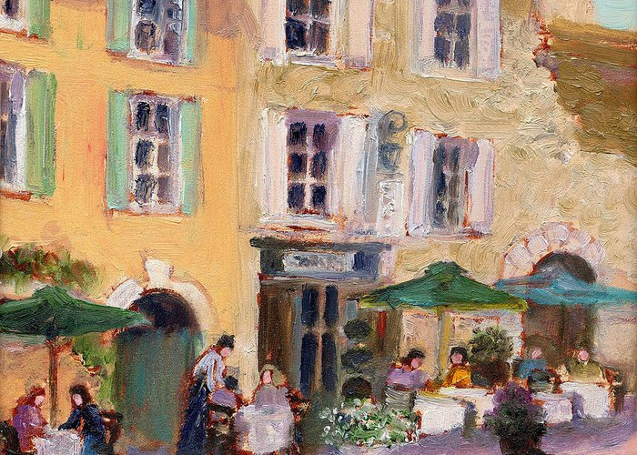 French Cafe Greeting Card featuring the painting Street Cafe by J Reifsnyder