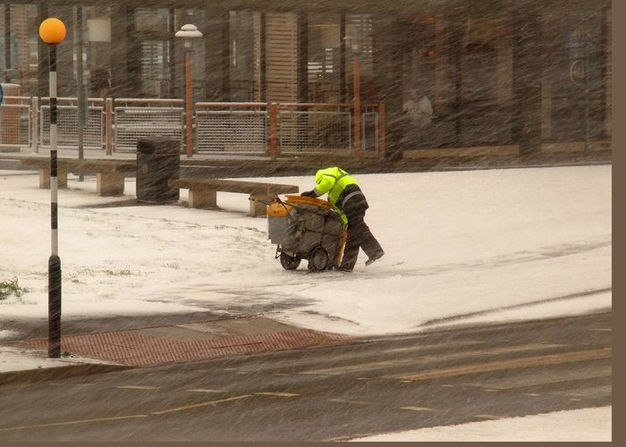Council Worker Greeting Card featuring the photograph Street Cleaner by Susan Tinsley