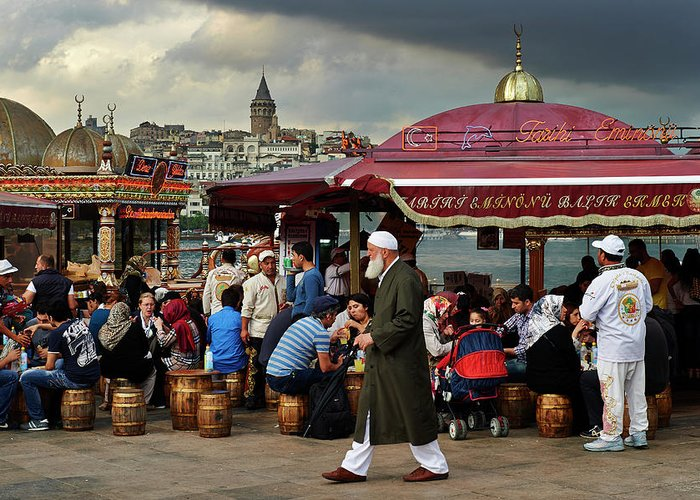 Istanbul Greeting Card featuring the photograph Street Food On The Golden Horn, Istanbul by Andrea Pistolesi