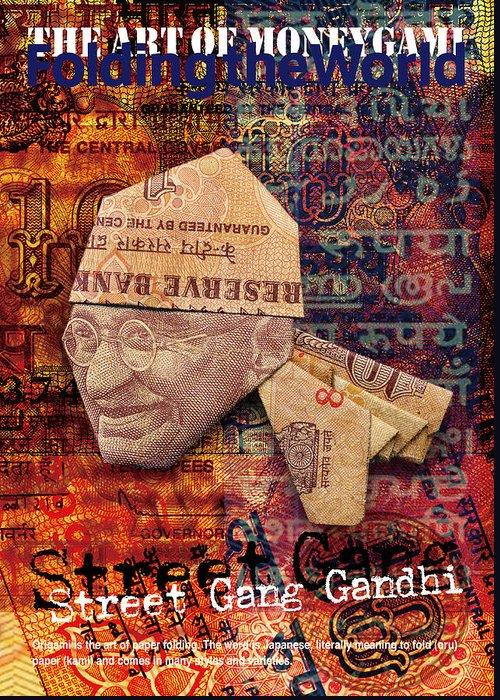 India Greeting Card featuring the mixed media Street Gang Gandhi by Yosuke Hasegawa