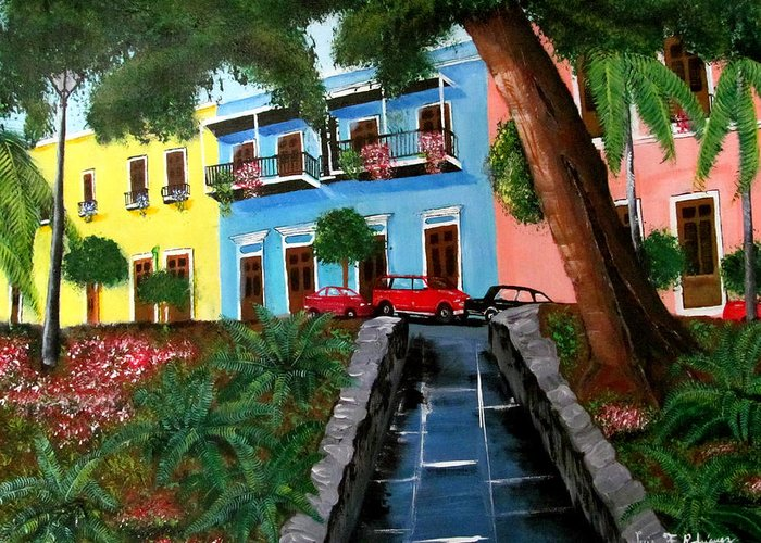 Old San Juan Greeting Card featuring the painting Street Hill In Old San Juan by Luis F Rodriguez