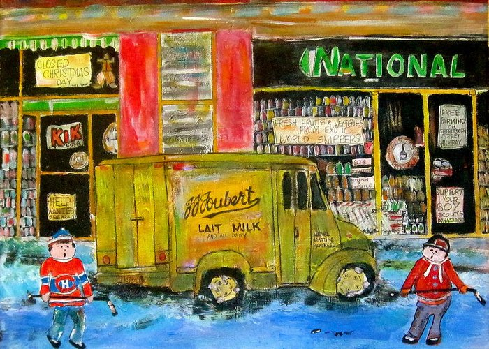Hockey Greeting Card featuring the painting Street Hockey And Milkman by Michael Litvack