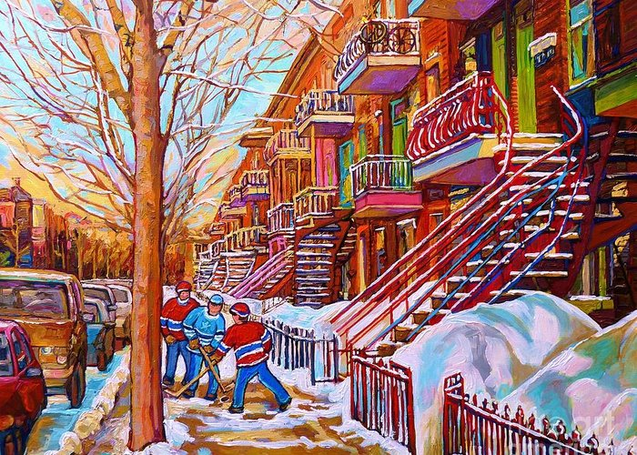 Montreal Greeting Card featuring the painting Street Hockey Game In Montreal Winter Scene With Winding Staircases Painting By Carole Spandau by Carole Spandau