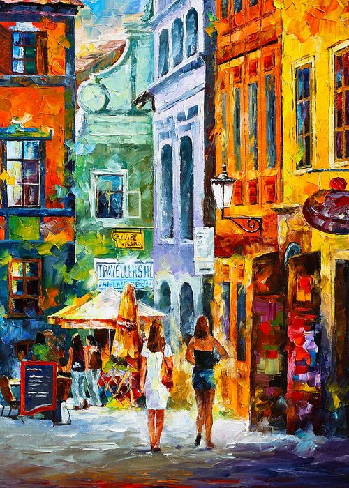 Street Greeting Card featuring the painting Street In Amsterdam by Leonid Afremov