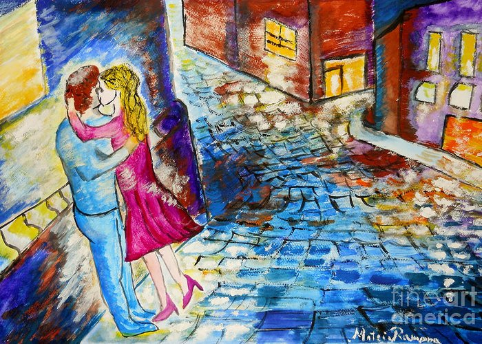Kiss Greeting Card featuring the painting Street Kiss By Night by Ramona Matei
