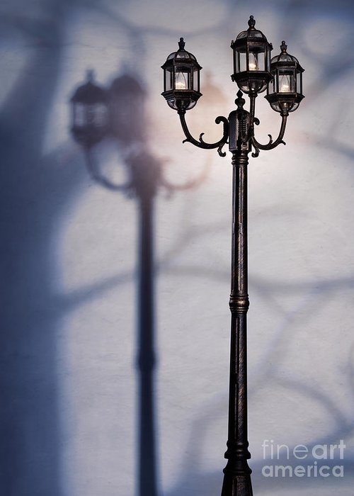 Night Greeting Card featuring the photograph Street Lamp At Night by Oleksiy Maksymenko