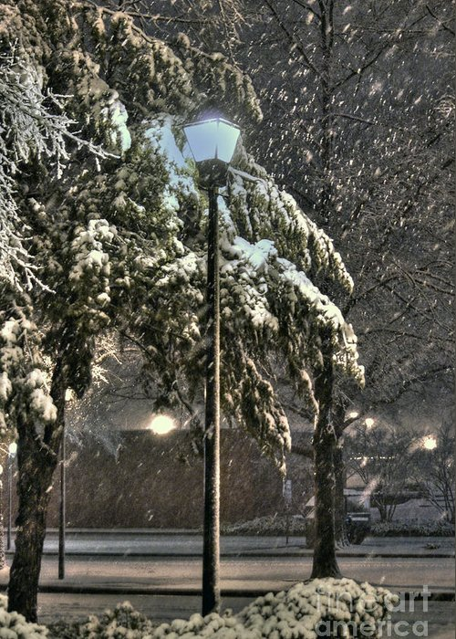 Street Lamp Greeting Card featuring the photograph Street Lamp In The Snow by Benanne Stiens