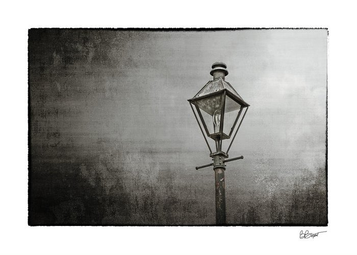 New Orleans Greeting Card featuring the photograph Street Lamp On The River In Black And White by Brenda Bryant