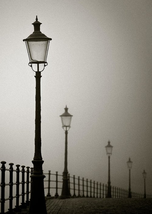 Maastricht Greeting Card featuring the photograph Street Lamps by Dave Bowman