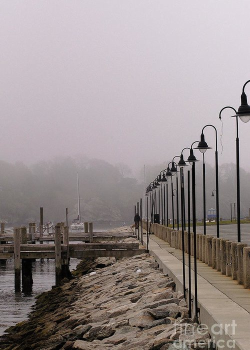 Fog Greeting Card featuring the photograph Street Lamps In Fog by Richard Patrick