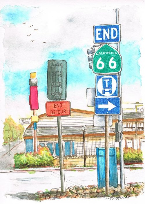 Route 66 Greeting Card featuring the painting Street Signs In Route 66, San Bernardino, California by Carlos G Groppa