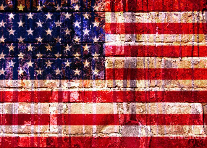 American Flag Greeting Card featuring the digital art Street Star Spangled Banner by Delphimages Photo Creations