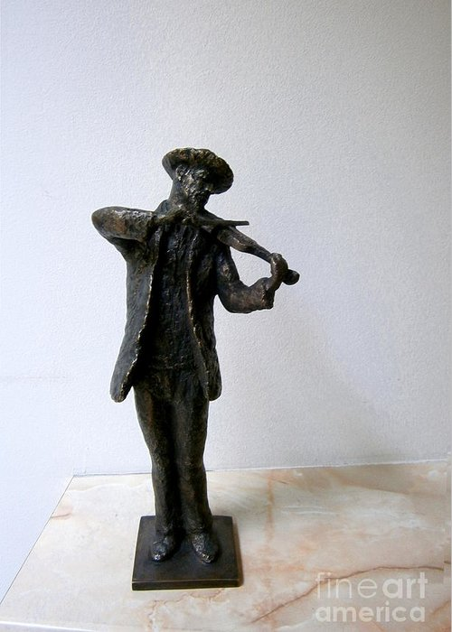 Street Greeting Card featuring the sculpture Street Violinist by Nikola Litchkov
