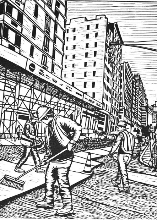 New York Greeting Card featuring the drawing Street Work In New York by William Cauthern