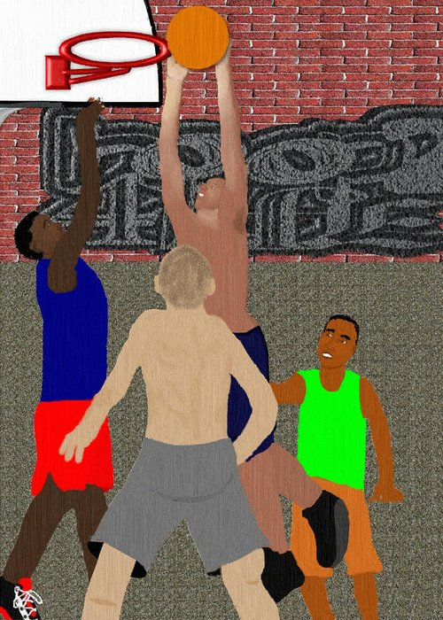 Basketball Greeting Card featuring the mixed media Streetball Shirts And Skins Hoopz 4 Life by Pharris Art