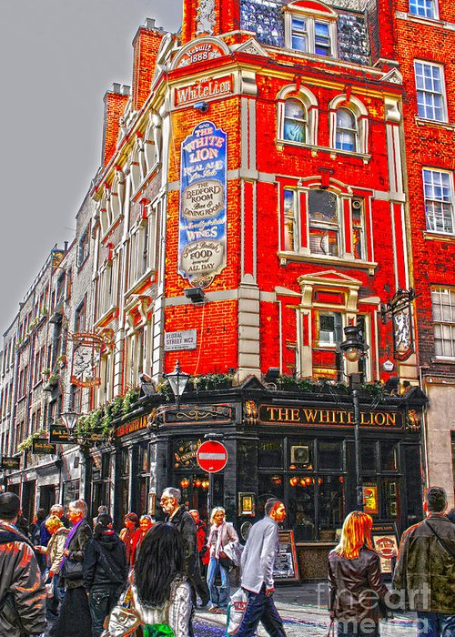 Inn Greeting Card featuring the digital art Streetlife In London by Patricia Hofmeester
