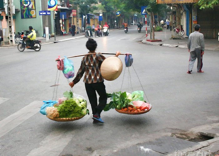 Vietnam Greeting Card featuring the photograph Streets Of Hanoi by Chuck Kuhn