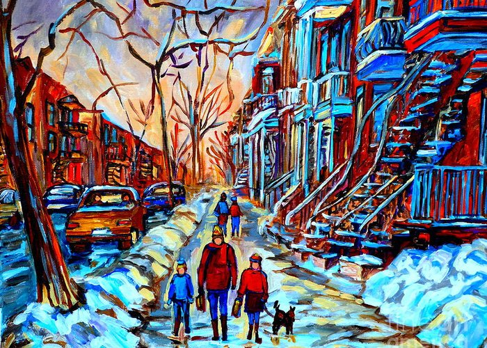 Montreal Greeting Card featuring the painting Streets Of Montreal by Carole Spandau