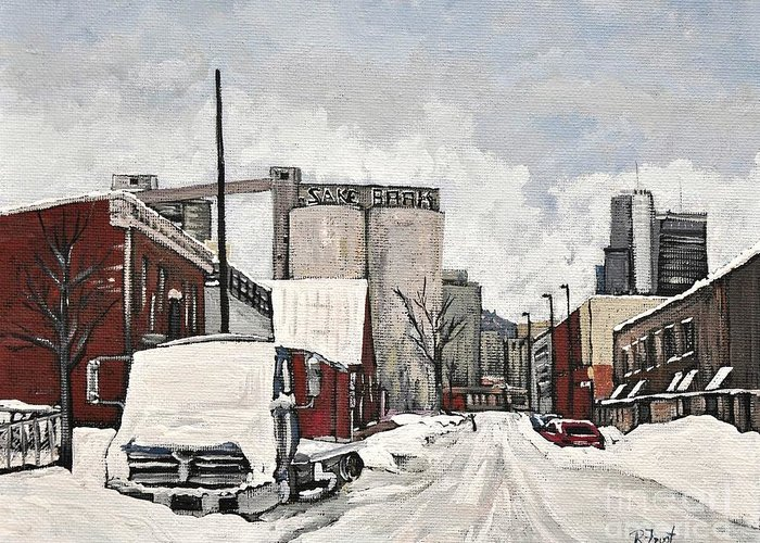 Pointe St. Charles Greeting Card featuring the painting Streets Of Montreal Pointe St. Charles by Reb Frost