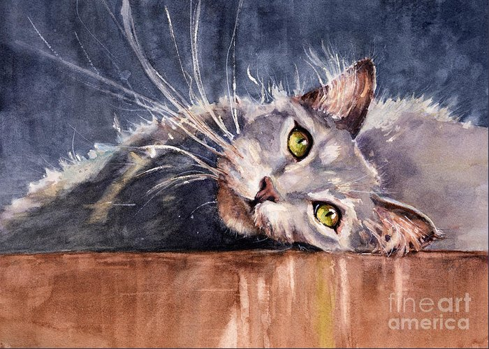 Cat Greeting Card featuring the painting Stretch by Judith Levins