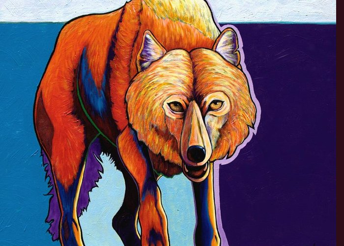 Contemporary Greeting Card featuring the painting Strictly Business - Arctic Wolf by Joe Triano