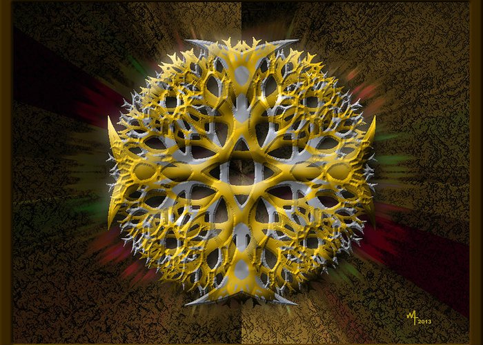 Geometric Abstract Greeting Card featuring the digital art String Thingy 1 by Warren Furman
