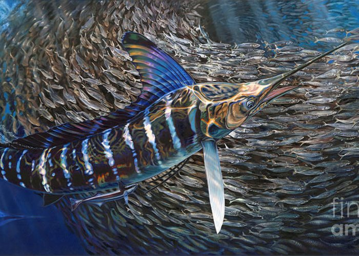 Fish Greeting Card featuring the painting Striped Gem by Jason Mathias