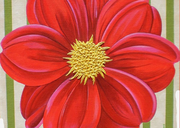 Acrylic Greeting Card featuring the painting Stripes-Dahlia II by Carol Sabo