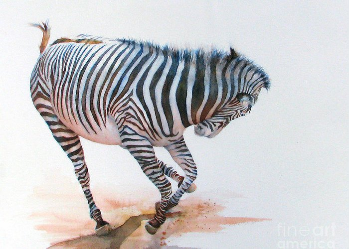 Zebra Greeting Card featuring the painting Stripes IIi by Patricia Henderson