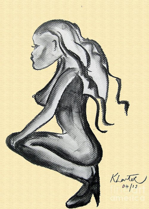 Chica Greeting Card featuring the drawing Stripper Chic Beige by Karen Larter