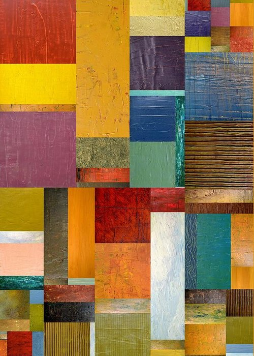Textural Greeting Card featuring the painting Strips And Pieces Ll by Michelle Calkins
