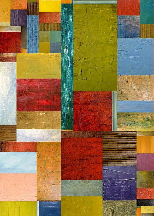 Textural Greeting Card featuring the painting Strips And Pieces Lll by Michelle Calkins