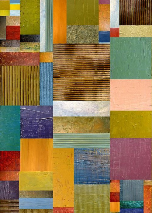 Textural Greeting Card featuring the painting Strips And Pieces Lv by Michelle Calkins