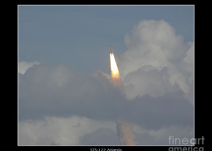 Space Shuttle Atlantis Greeting Card featuring the photograph Sts-122 Atlantis by Jeffrey Wills