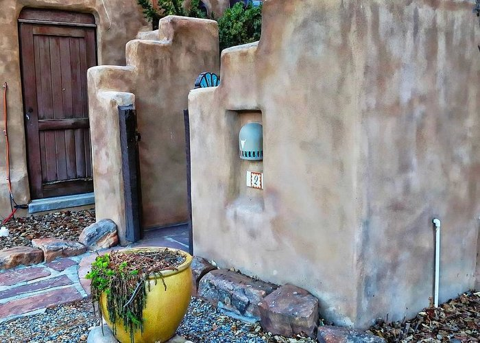 Santa Fe Greeting Card featuring the digital art Stucco Condo In Santa Fe by Carrie OBrien Sibley