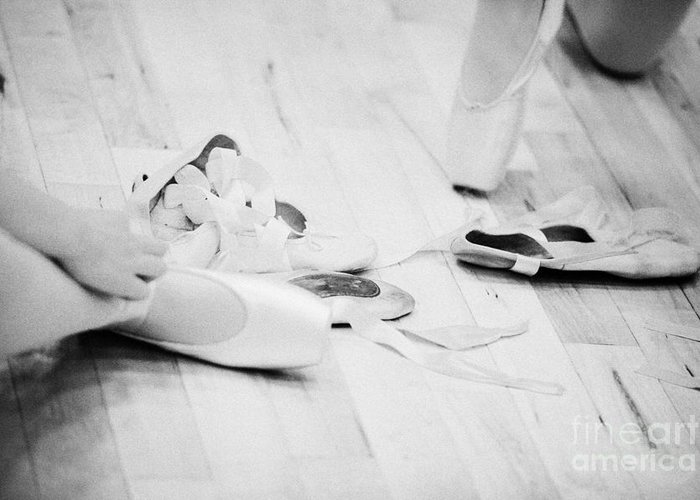 Ballet Greeting Card featuring the photograph Students Putting On Pointe Shoes At A Ballet School In The Uk by Joe Fox