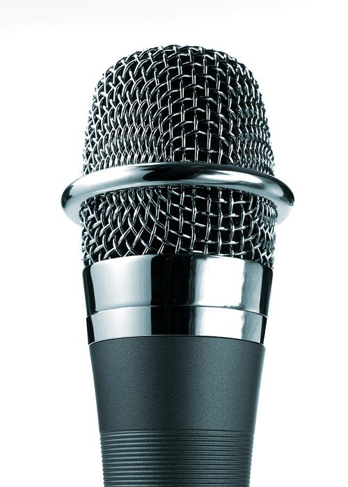 White Background Greeting Card featuring the photograph Studio Shot Of Microphone On White by David Arky