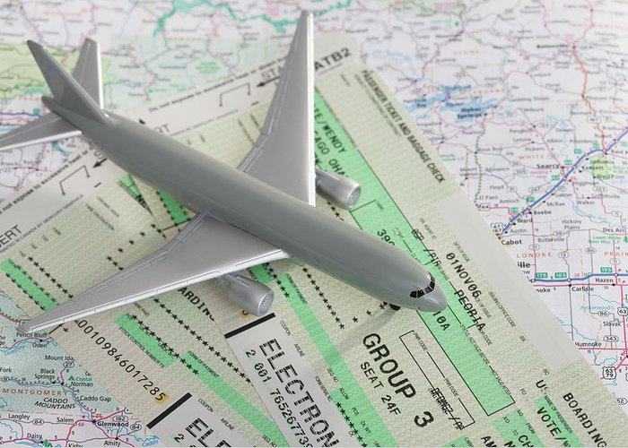 Airplane Greeting Card featuring the photograph Studio Shot Of Toy Airplane With by Vstock Llc