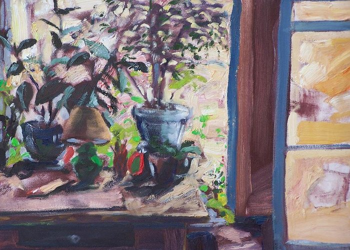 Impressionism Greeting Card featuring the painting Studio Window by Geoffrey Haun