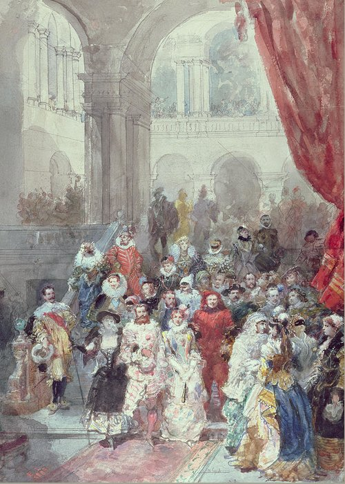 Study For A Costume Ball Given By The Princess Of Sagan Greeting Card featuring the painting Study For A Costume Ball Given By The Princess Of Sagan by Eugene-Louis Lami