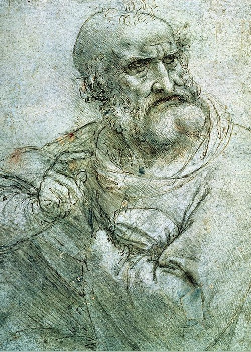 Sketch; Drawing; Saint; Peter; Saint; Disciple; Old Man; Elderly; Male; Apostle; Last Supper; Leonardo; Da Vinci; Leonardo Da Vinci; Study For An Apostle From The Last Supper; Religious; Pen; Ink; Metalpoint; Paper; New Testament; Christian; Christianity; Faith; Belief; Religious; Wrinkle; Wrinkled; Beard; Aged; Robes; Robed; Finger; Pointing; Portrait; Colorless; Furrowed Brows; Bald; Balding; Bald Man; Bald Head; Bearded; White Hair; Sitting; Upper Body; Facial Features; Details; Detailed Greeting Card featuring the drawing Study For An Apostle From The Last Supper by Leonardo da Vinci