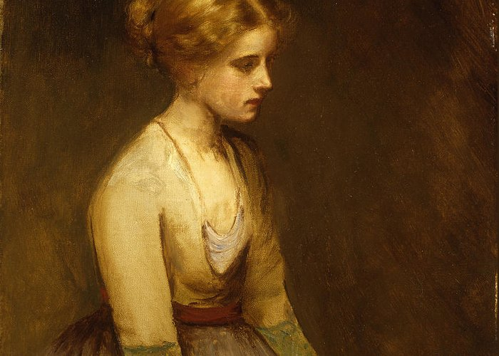 Study; Fair-haired; Beauty; Female; Woman; Girl; Young; Youth; Three-quarter Length; Demure; Modest; Beautiful; Thoughtful; Pensive; Full; Skirt; Brown; Background; Golden; Earthy; Tone; Tones; Shy; Blonde Greeting Card featuring the painting Study Of A Fair Haired Beauty by Jean Jacques Henner