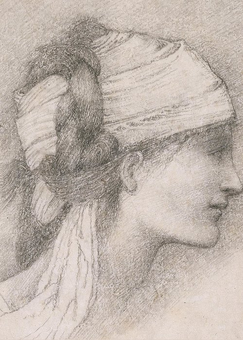 Sir Edward Coley Burne Jones Greeting Card featuring the drawing Study Of A Female Head To The Right by Sir Edward Coley Burne-Jones