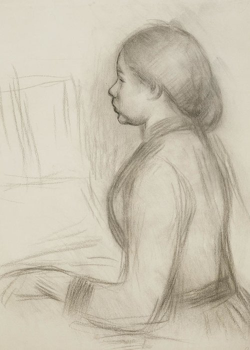 Attire Greeting Card featuring the drawing Study Of A Young Girl At The Piano by Pierre Auguste Renoir