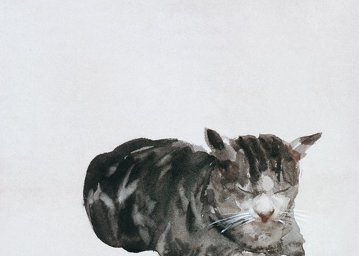 Cat Greeting Card featuring the painting Study Of Cat by Giuseppe De Nittis