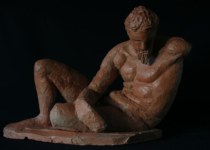 Man Sculpture Greeting Card featuring the sculpture Study Of The River God by Flow Fitzgerald