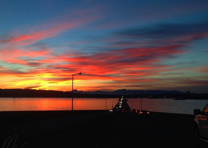 Seattle Greeting Card featuring the photograph Stunning Sunset by Michael Ruff