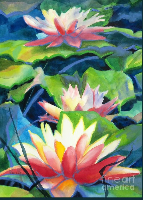 Painting Greeting Card featuring the painting Styalized Lily Pads 3 by Kathy Braud