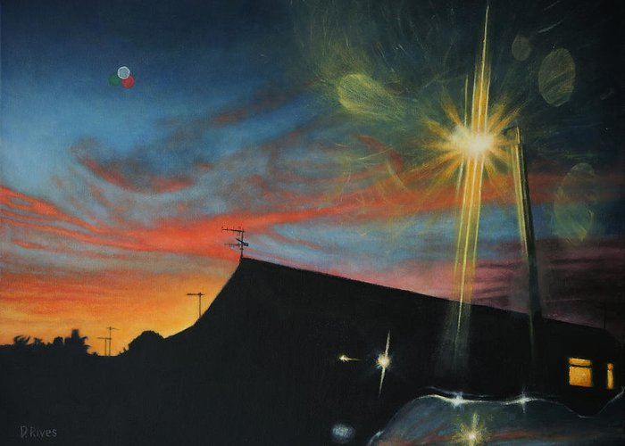 Surreal Greeting Card featuring the painting Suburban Sunset Oil On Canvas by David Rives