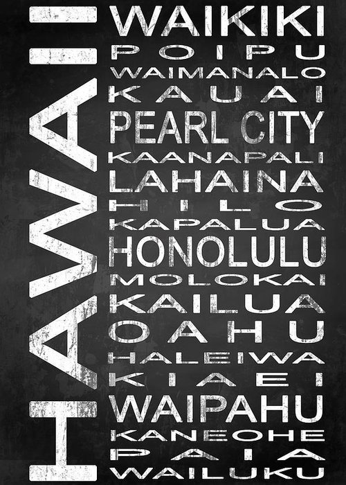 Subway Sign Greeting Card featuring the digital art Subway Hawaii State 1 by Melissa Smith
